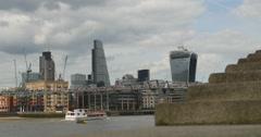 Steps to Bankside pier, London skyline 4K Stock Footage