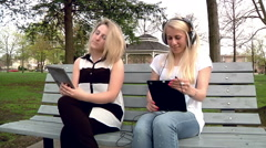 Woman Listens to Music in the Park Annoying Neighbor Stock Footage