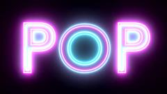 Pop neon sign lights logo text glowing multicolor - stock footage
