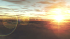 fly over clouds in sunset - stock footage