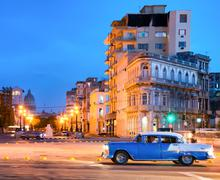 urban scene at night in old havana - stock photo
