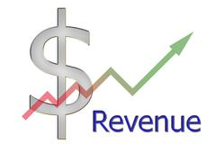 diagram upwards revenue with color gradient and dollar symbol - stock illustration