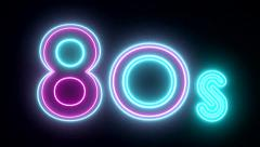 80s neon sign lights logo text glowing multicolor Stock Footage