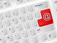 Computer keyboard email symbol Stock Illustration