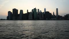 Pan Up to Downtown Manhattan New York Skyline Stock Video Stock Footage