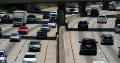 4K Freeway Traffic 42 LA Downtown Stock Footage