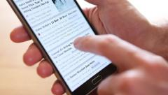 Browsing news on Smartphone, Smart phone, Iphone scroll Stock Footage
