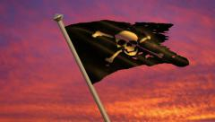 Pirate Jolly Roger Flag Animation Stock Footage