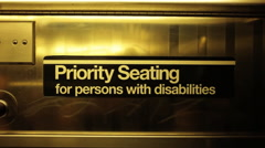 Priority Seating Sign in New York City Subway Stock Video Stock Footage