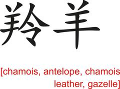 Stock Illustration of Chinese Sign for chamois, antelope, chamois leather, gazelle