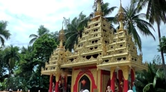 Malaysia Penang island 008 burmese buddhist temple portal with golden roof Stock Footage