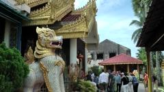 Malaysia Penang island 002 burmese buddhist temple fantasy figure Stock Footage