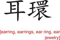 Chinese Sign for earring, earrings, ear ring, ear jewelry Stock Illustration