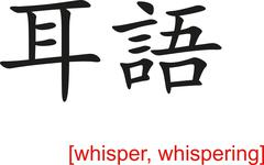 Chinese Sign for whisper, whispering - stock illustration