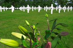 flowers on a grave of a fallen u.s. soldier. - stock photo