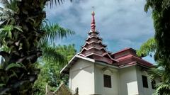Malaysia Penang island 009 burmese buddhist temple building behind palm trees Stock Footage