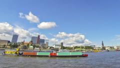 Elbe river in Hamburg, Germany - stock footage