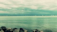 4K Blue Ribbon Sailing Boat Race in Lake Balaton Hungary 12 stylized Stock Footage