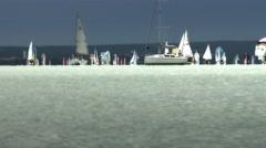 4K Blue Ribbon Sailing Boat Race Lake Balaton 11 stylized Stock Footage