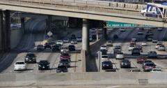 4K Freeway Traffic 44 LA Downtown Stock Footage