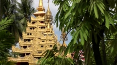 Malaysia Penang island 013 burmese buddhist temple golden pyramid in jungle Stock Footage