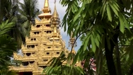 Stock Video Footage of Malaysia Penang island 013 burmese buddhist temple golden pyramid in jungle