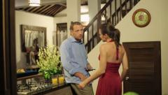Angry man waiting for a woman, at home, being late Stock Footage