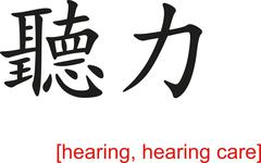 Chinese Sign for hearing, hearing care Stock Illustration