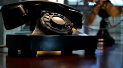film noir phone and fan - stock footage