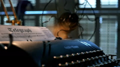 Film noir telegraph in a typewriter Stock Footage