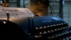 film noir telegraph in typewriter 4K - stock footage