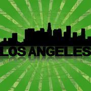 Los angeles skyline reflected with green dollars sunburst illustration Piirros