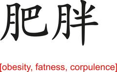 Chinese Sign for obesity, fatness, corpulence - stock illustration