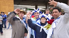 Uruguayan fans go to the match Uruguay x England Stock Footage