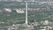 Stock Video Footage of 4K Budapest Hungary Aerial View 38 northern part smoke stack