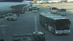 Bus taking passengers from the plane to the airport Stock Footage