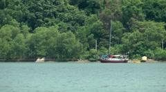 Malaysia Penang island 067 sailing boat at anchor in a green bay Stock Footage