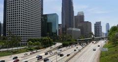 4K Freeway Traffic 47 LA Downtown Stock Footage