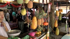 Malaysia Penang island 059 fruit stall at the street in a rural district Stock Footage