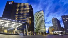 Evening view of Potsdamer Platz - financial district of Berlin, Germany - stock footage