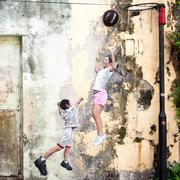 Children Playing Basketball Street Art Piece in Georgetown, Penang, Malaysia Stock Photos