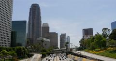 4K Freeway Traffic 48 LA Downtown Stock Footage