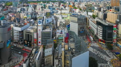 Panorama of Shibuya, Tokyo in Time Lapse Stock Footage