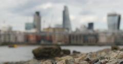 London beach Bankside rack focus 4K Stock Footage