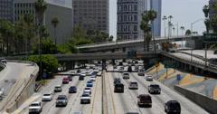 4K Freeway Traffic 49 LA Downtown Stock Footage