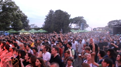 Mosh pit  on music festival,concert crowd summer fun enjoying in music Stock Footage