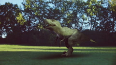 Dinosaur in green area trex tyranosaurus rex dino 2 Stock Footage