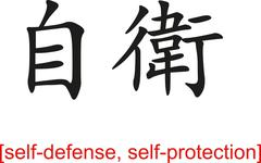 Chinese Sign for self-defense, self-protection - stock illustration