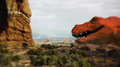 Dinosaur trex dino prehistoric tyranosaurus rex jurassic Stock Footage
