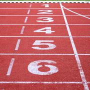 running track, start and finish line - stock photo